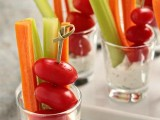 fresh veggies in cups with sauce are amazing and very healthy, they will fit any wedding including a vegetarian one