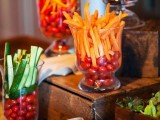 fresh cherry tomatoes and slices of cucumbers and carrots are amazing for a spring wedding