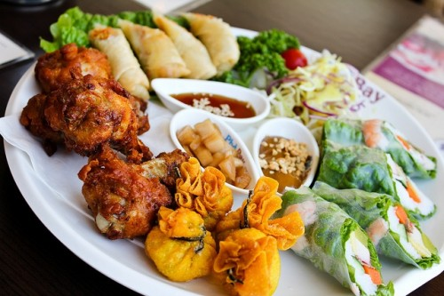 spring rolls with veggies and dim sum with various kinds of fillings are amazing for Asian food loving couple