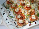 mini bruschettas with tomatoes and mozzarella chese plus herbs and balsamic are a traditional idea and classics