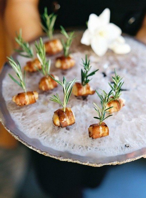 chicken wrapped with bacon and with fresh herbs are tiny and hearty bites for any wedding