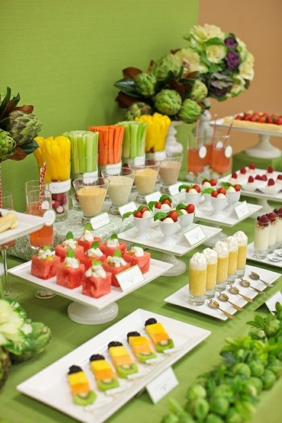 Caprese and fruit skewers are nice for a spring or summer wedding, they are refreshing